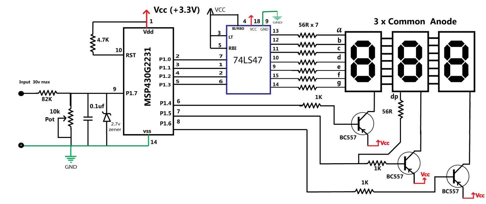 Embedded Engineering Msp430 Based 30v Volt Meter Supply 5v Vcc And 12v To Input Led Driver Application Circuits