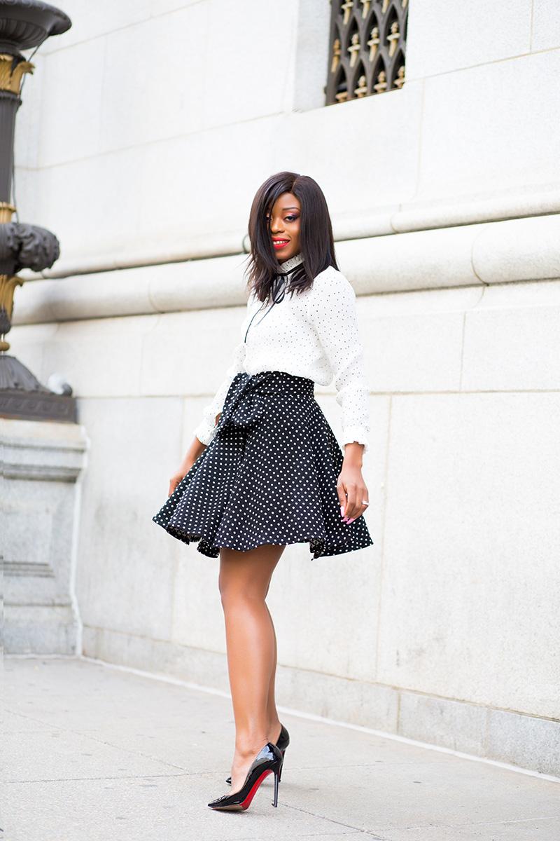 polka dot  mix, chicwish blouse, polka dot skirt, trench coat, www.jadore-fashion.com