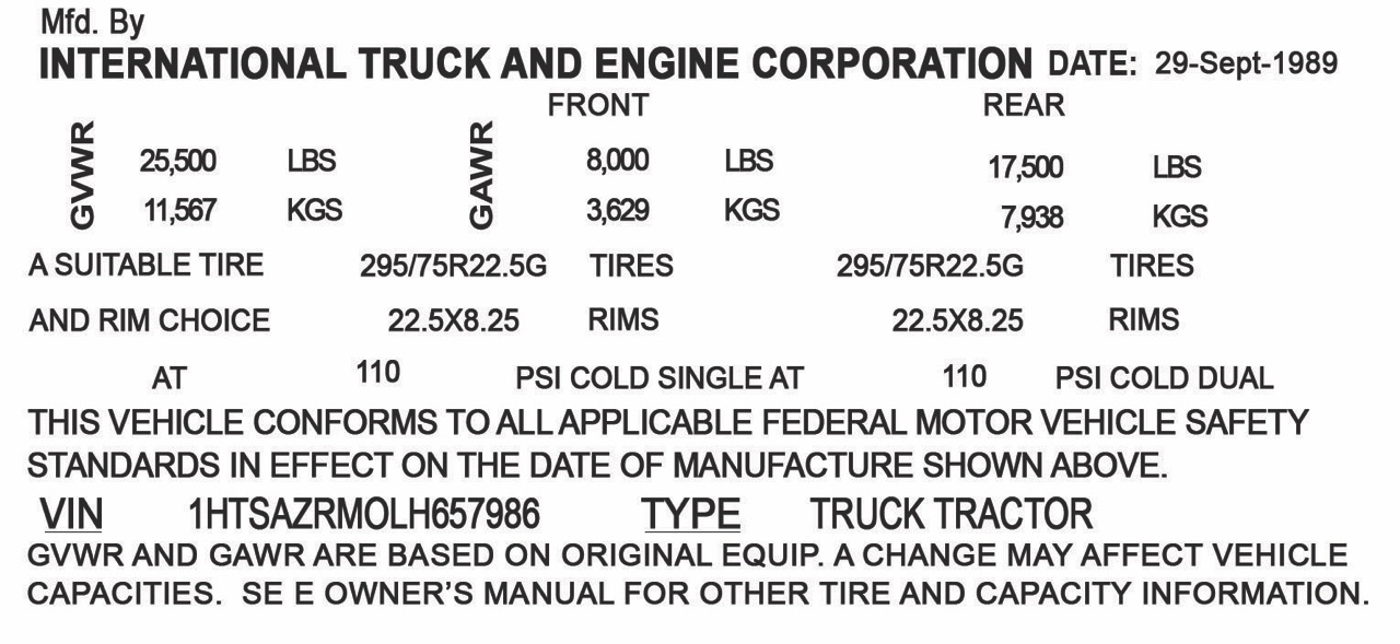 Replacement VIN (vehicle identification number) Stickers