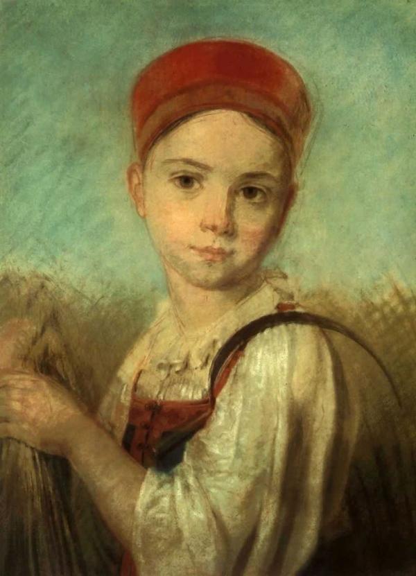 Венецианов Алексей Гаврилович Крестьянская девушка с серпом во ржи