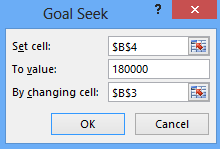 Enter the following values in the goal seek dialogue box