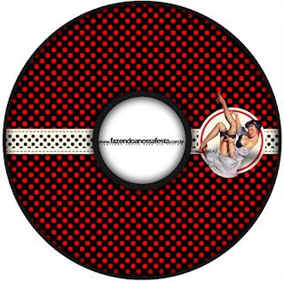 Etiquetas de Pin Up en Negro con Lunares Rojos para CD's.