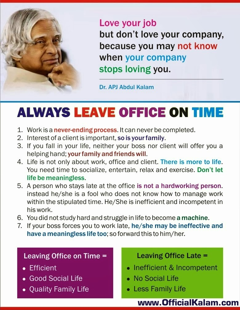 Always Leave Office on time officialkalam