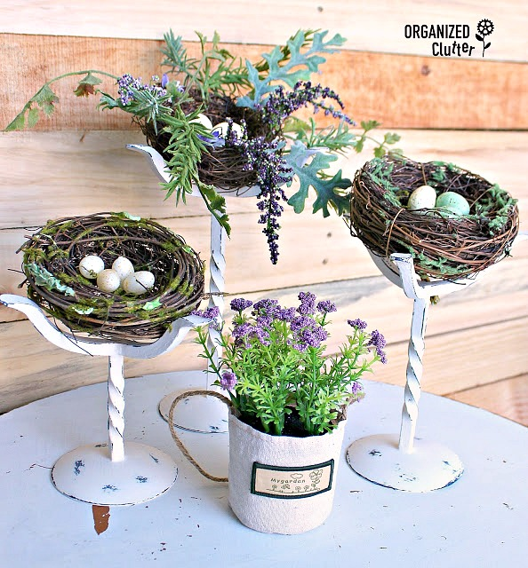 Thrift Shop Candlesticks Repurposed as Spring Nest Holders #thriftshopmakeover #upcycle #repurpose #springdecor #birdsnest