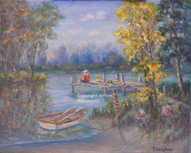Fishing in lake with boat tied to the shore of lake with Autumn trees