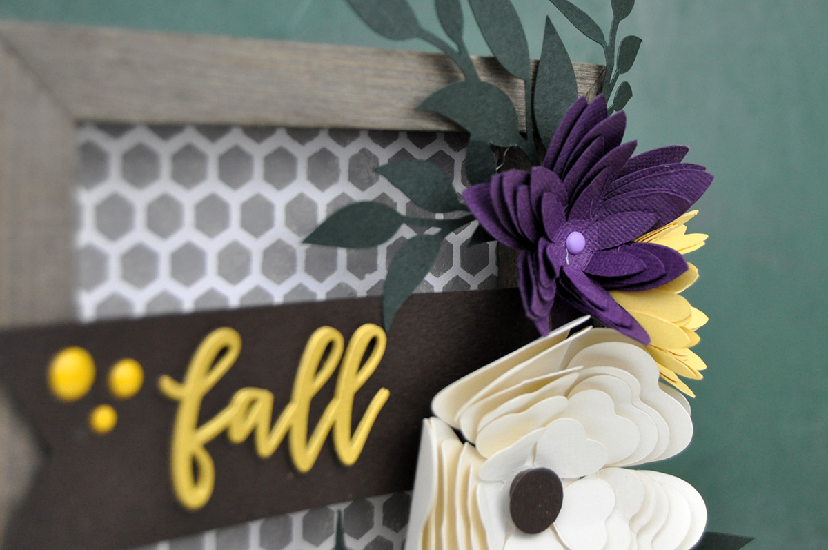 Fall stenciled farmhouse sign with die cut 3D paper flowers and acrylic paint. Created by Jen Gallacher for Scrapbook & Cards Today Magazine.