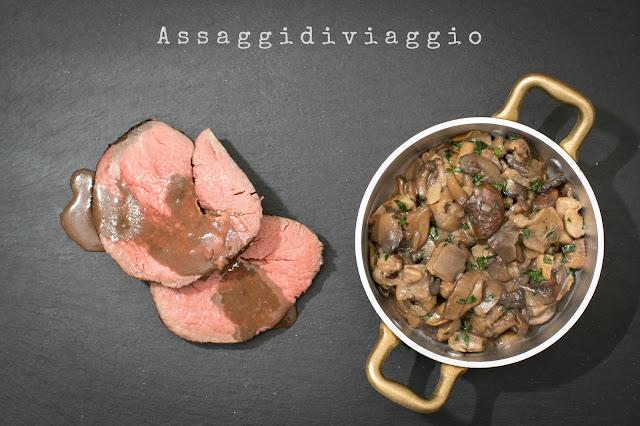 Filetto di manzo cotto a bassa temperatura con salsa al Porto e funghi trifolati
