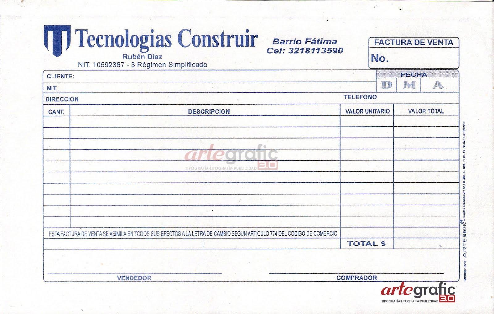 Impresi n de facturas en pasto artegrafic3 0 for Diseno de facturas
