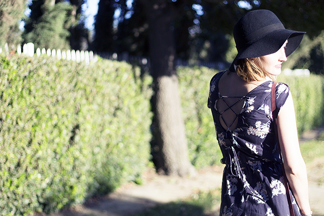 Billabong Floral Romper, Sole Society Booties, Wide Brim Hat