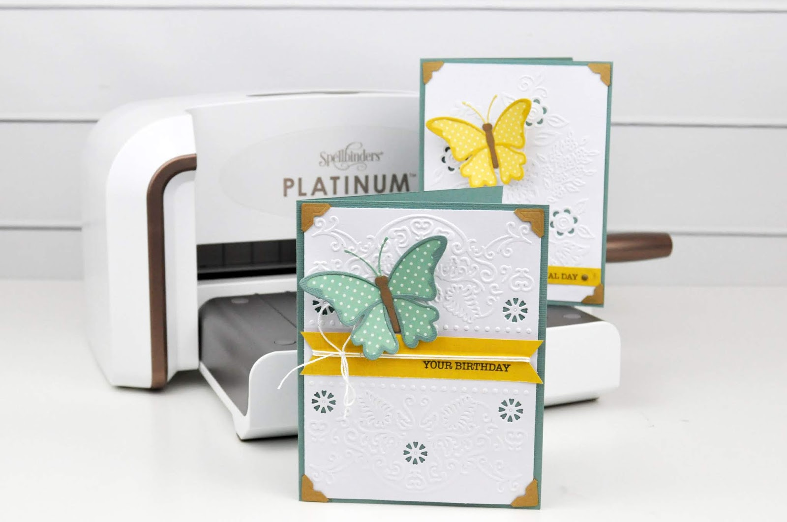 Spellbinders Emboss and Die Cut Folders tutorial by Jen Gallacher featuring the Spellbinders Platinum machine and dies and stamps from Spellbinders. #embossingfolder #diecutting #spellbinders #jengallacher
