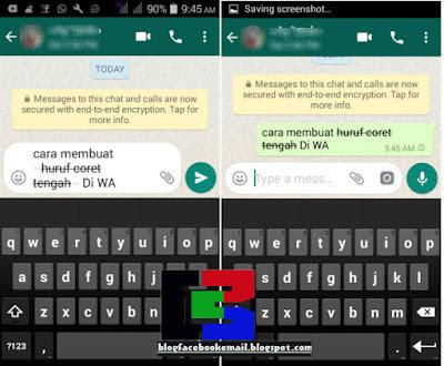 bagaimana cara membuat font dengan coret tengah di whatsApp unik