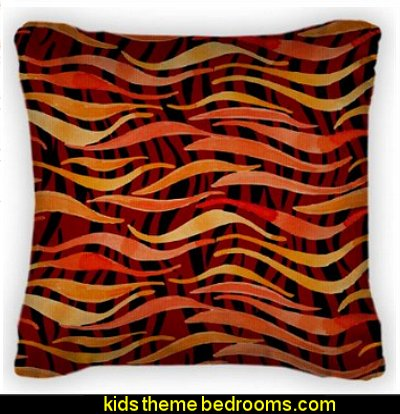 Fire Flame Watercolor Pattern- Throw Pillow With Removable Cover
