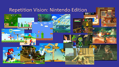 "Title: Repetition Vision: Nintendo Edition. This slide features multiple screenshots from the Mario and Zelda franchises, 9 from Mario and 8 from Zelda. In the presentation, each image pops up while I say ""OMG"" from the following text."