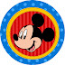 Mickey in Red and Blue: Free Printable Cupcake Wrapper and Toppers.