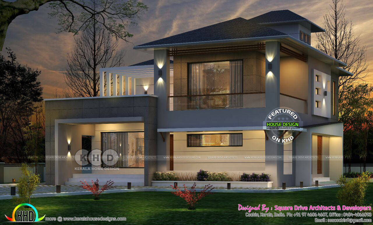 Western style home architecture in kerala kerala home for Western home plans