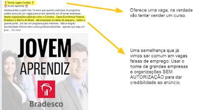 Imagem de um anúncio falso de emprego