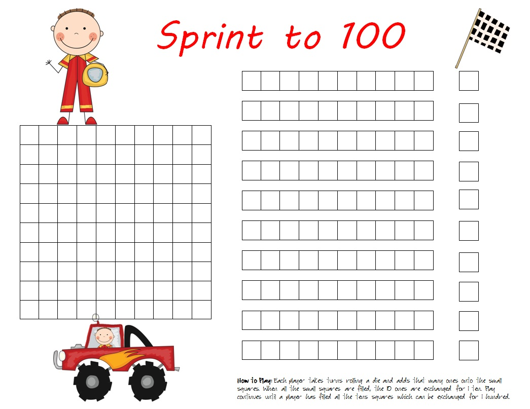 freebie sprint to 100 place value game [ 1045 x 807 Pixel ]