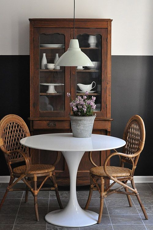 half black wall tulip table