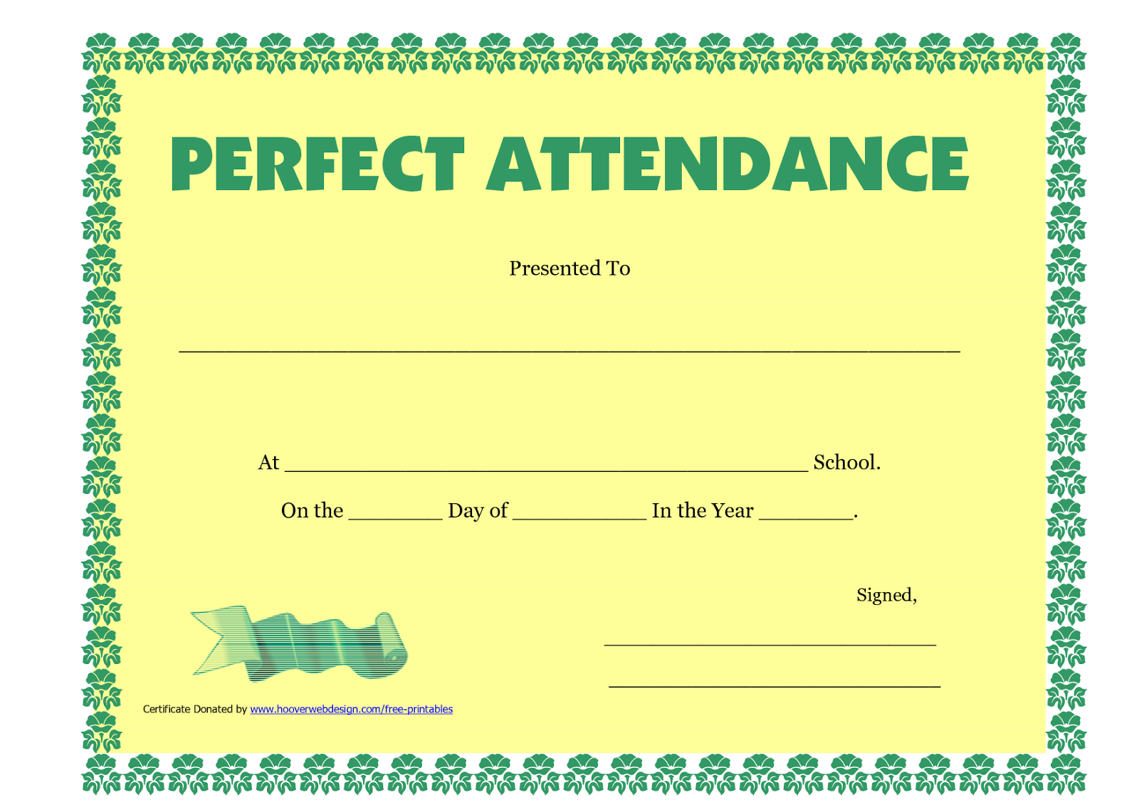 Perfect attendance certificate templates free download d templates perfect attendance certificate printable xflitez Choice Image