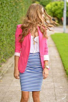 Uma peça de cor forte (pop of color) - blazer rosa