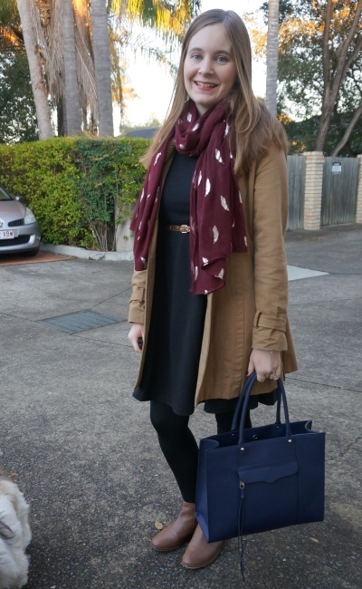 camel trench black dress burgundy scarf navy tote bag, winter office wear | Away From Blue