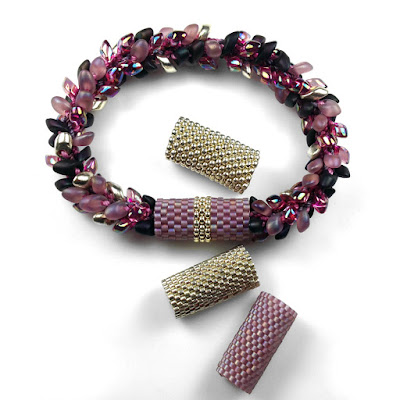 Peyote Stitch Sleeves for Kumihimo Bracelet with Long Magatamas & C-Lon Tex 400 Bead Cord