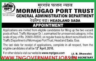 Applications are invited for Asst Traffic Manager Post in Mormugao Port Trust