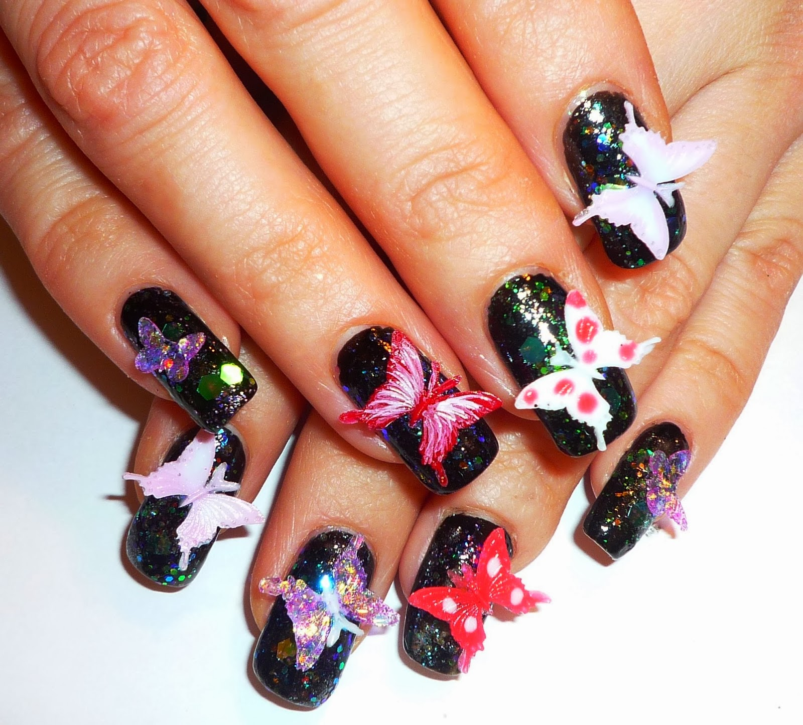 One Hundred Styles: Butterfly 3d Nail Art Design