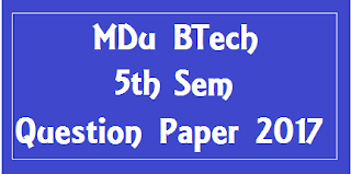 एम डी यू  BTech CSE 5th Sem Question Papers 2018