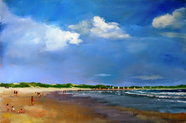 beach painting, coastal art, debbie miller, clouds, beach