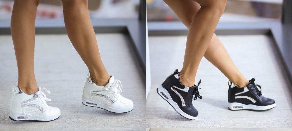 Adidasi femei cu platforma inalta negri, albi ieftini online