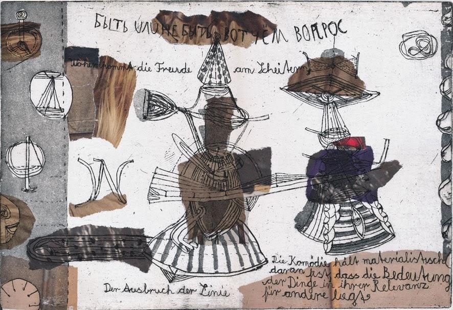 Wilfried Habrich: Bytch ili nje bytch wot tschjom wopros, Strichätzung collagiert,2014