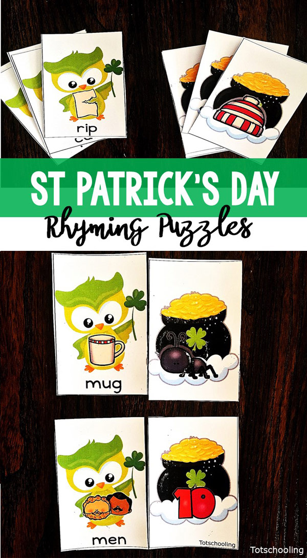 FREE rhyming puzzle cards with a St. Patrick's Day theme, featuring a green owl and a pot of gold. Preschool and kindergarten kids will love to find the rhyming matches!