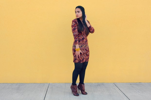 Forever 21 Full Sleeved Dress, Dolce Vita Boots, Tanvii.com
