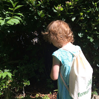 Jane wearing her forest back pack