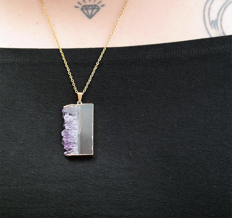Amethyst Slice Necklace Gold