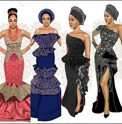 #BAAD2017: Checkout Photos of the 4 dresses Adesua Etomi wore To her wedding + meet her parents