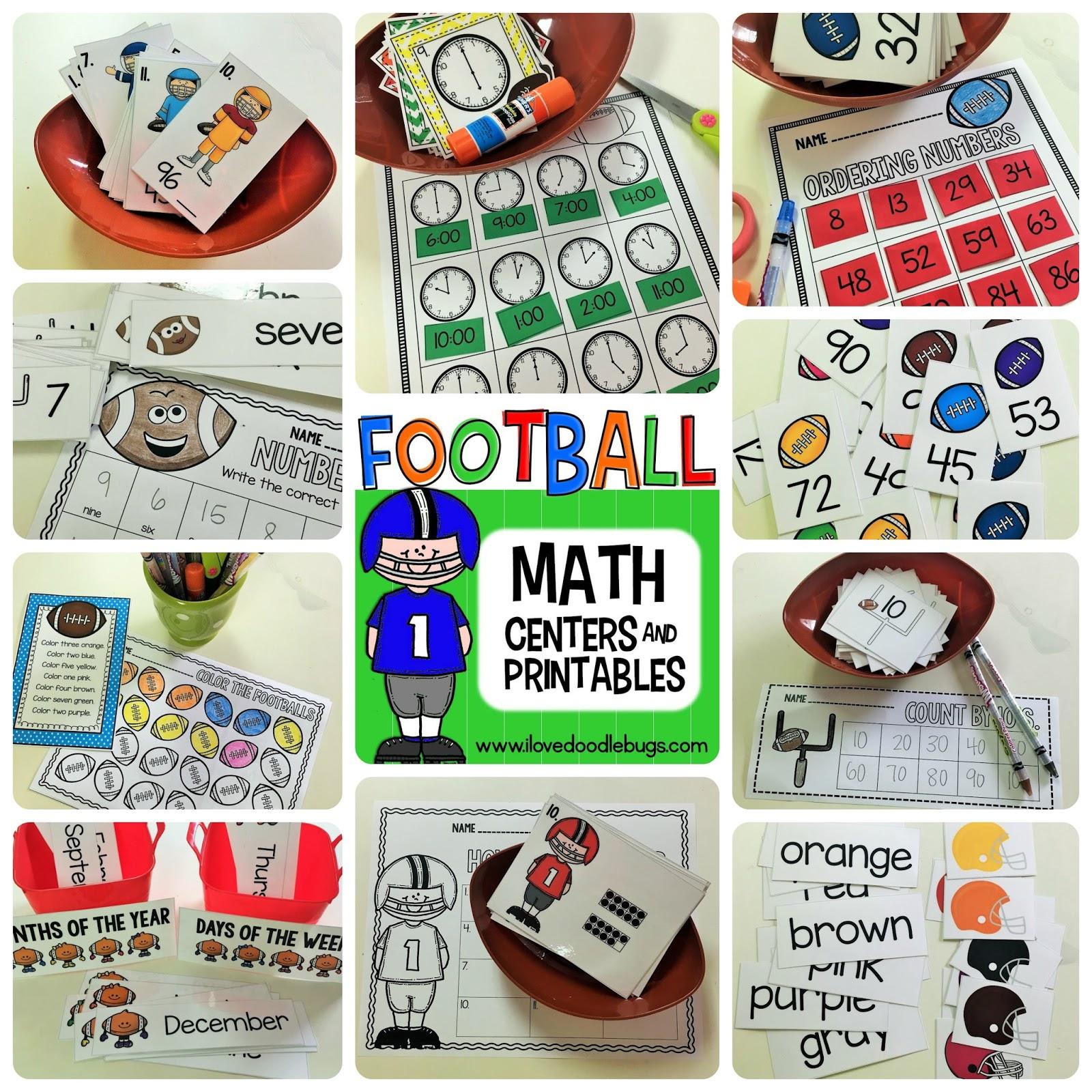 Football Math Centers + Printables   Doodle Bugs Teaching   Bloglovin\'