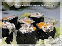 Makis de lentilles, saumon fumé et chèvre
