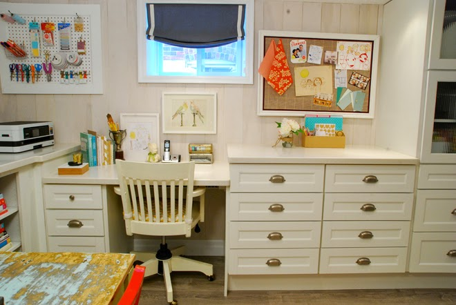 Rambling Renovators | home office basement martha stewart cabinetry