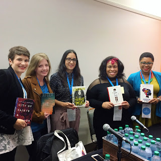 Kate and Lilliam (2nd and 3rd) at the North Texas Teen Book Fair with fellow debut authors Natalie C Anderson, Angie Thomas, and Ibi Zoboi