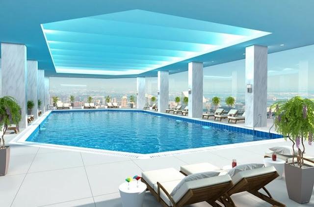 Bể bơi tại dự án chung cư Sun Group 58 Quảng Bá.