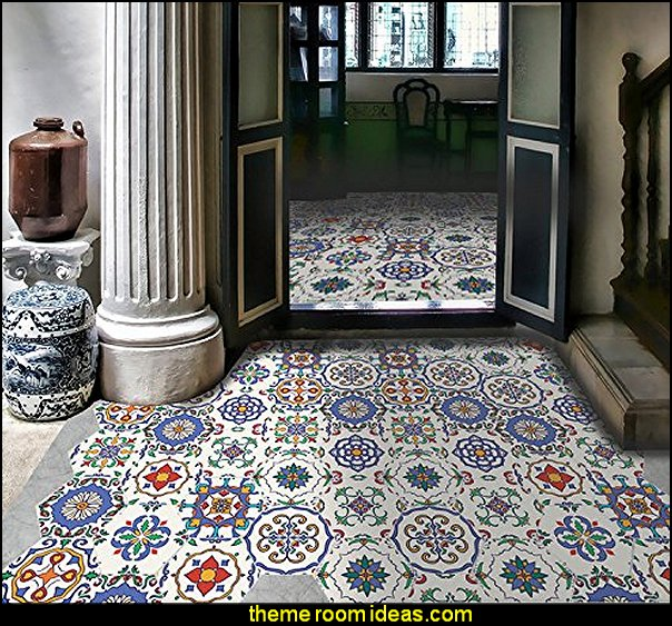 Moroccan Style Waterproof Non-slip DIY Removable Tile Floor Stickers
