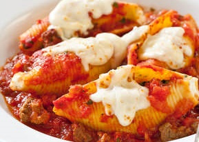Reduced Fat stuffed Shells with Meat Sauce
