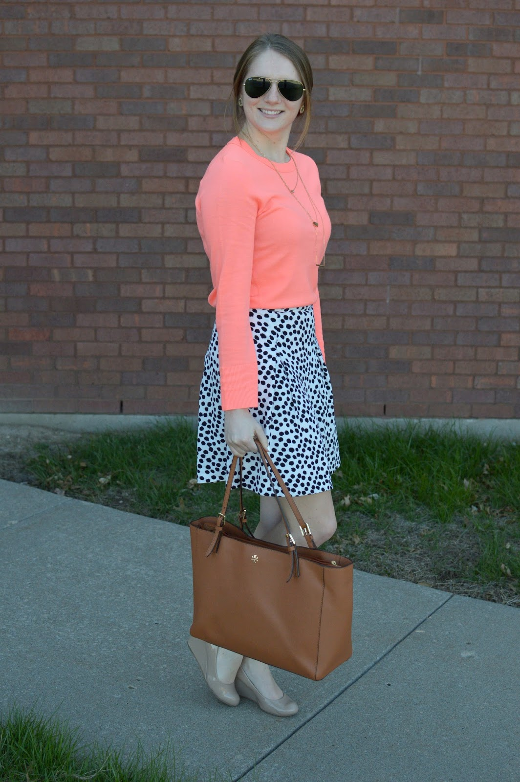 how to style a coral sweater | cute work outfit ideas this spring | a memory of us