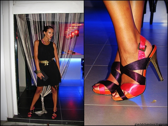 Sevene multicolored pink purple satin sandals with gold heels