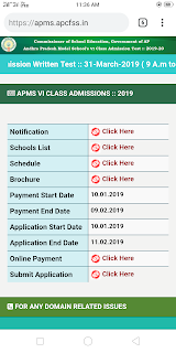 AP Modal schools 6th class Admissions 2019 - Notification ,Online application process ,Schedule Dates