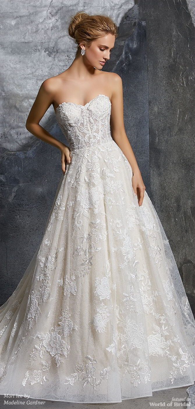 Mori lee by Madeline Gardner Spring 2018 Chic Chantilly Lace Ball Gown