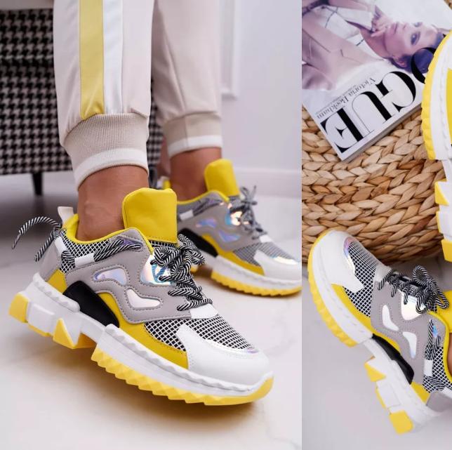 Sneakersi dama moderni galbeni cu talpa groasa model nou 2020