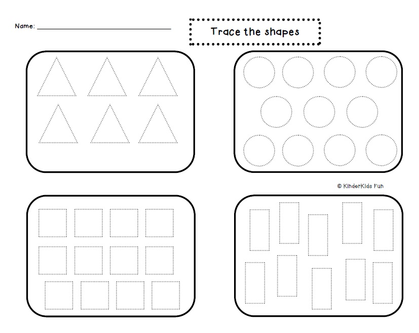 KinderKids Fun: Friday Freebie: Trace The Shapes Activity